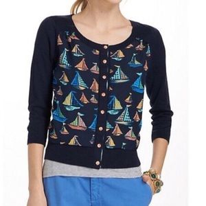 Anthropologie Monogram Sailboat Cardigan Sweater